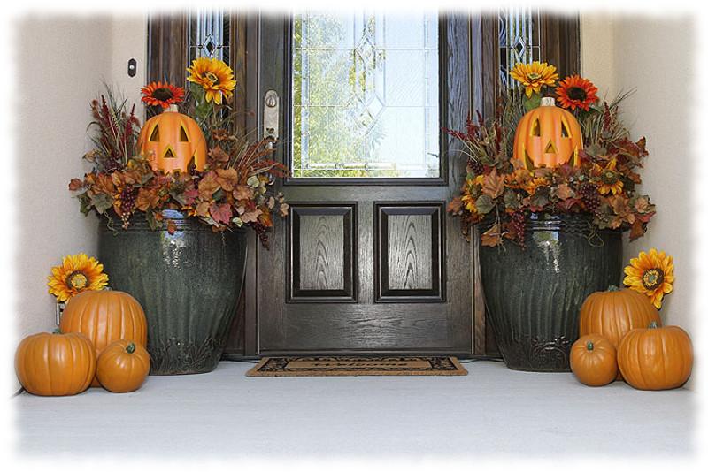 Decoración de Halloween Composición Calabazas para Exteriores. Photo © Jason Lugo